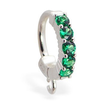TummyToys® Patented Clasp. High End Belly Rings. TummyToys® Emerald Charm Slave