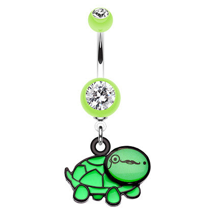 Dangling Belly Ring. Quality Belly Rings. Nerdy Turtle Navel Bar