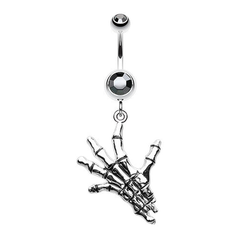 Dangling Belly Ring. Cute Belly Rings. The Hand of Death Navel Ring