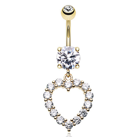 Heart Bijou Belly Button Dangle - Dangling Belly Ring. Navel Rings Australia.