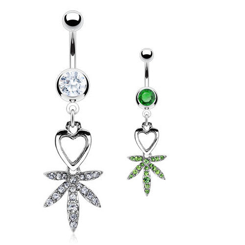I Heart Pot Leaf Navel Bar - Dangling Belly Ring. Navel Rings Australia.
