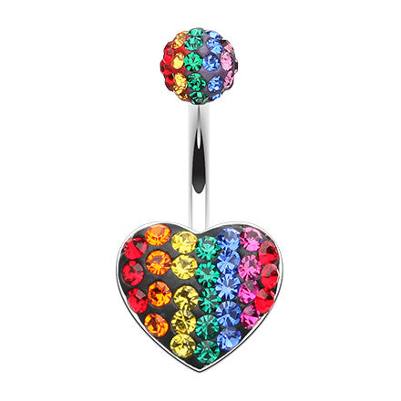Fixed (non-dangle) Belly Bar. High End Belly Rings. Motley Rainbow Heart Navel Bar
