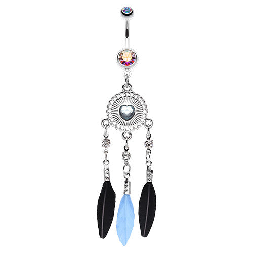 Shielded Heart Dream Catcher Navel Ring - Dangling Belly Ring. Navel Rings Australia.