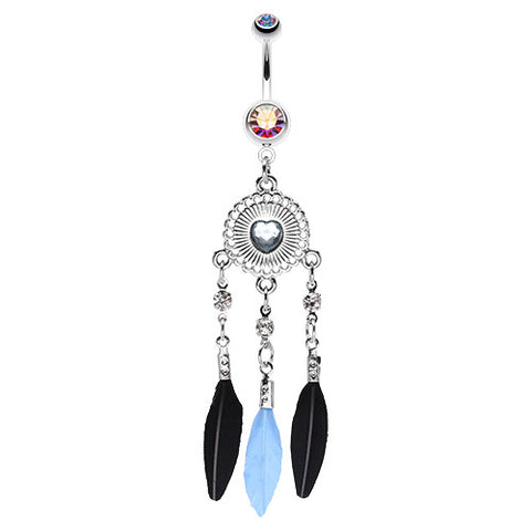 Dangling Belly Ring. Buy Belly Rings. Shielded Heart Dream Catcher Navel Ring