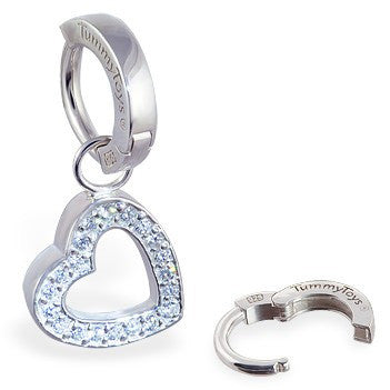 TummyToys® Patented Clasp. Belly Bars Australia. TummyToys® Silver Floating Heart Swinger