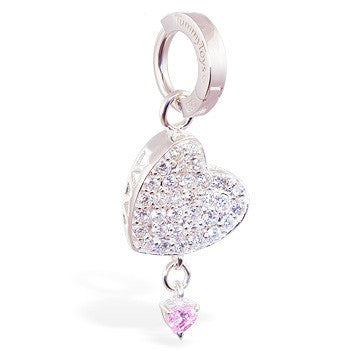 TummyToys® Patented Clasp. Navel Rings Australia. TummyToys® Silver Floating Paved Heart with Pink Drop Swinger