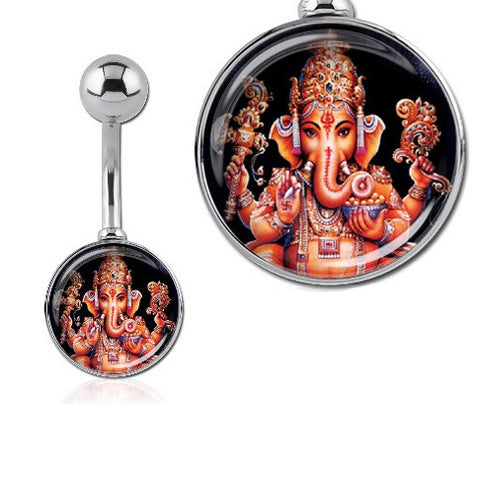 Basic Curved Barbell. Quality Belly Bars. HUGE Ganesha Elephant Print Belly Button Rings