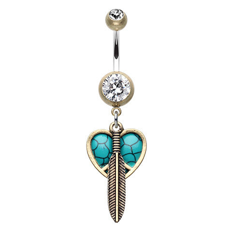 Boho Feathered Heart Belly Button Ring - Dangling Belly Ring. Navel Rings Australia.