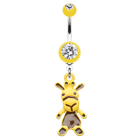 Dangling Belly Ring. Cute Belly Rings. How Now Brown Cow Belly Piercing Ring