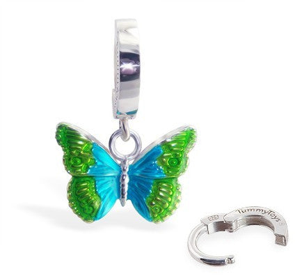 TummyToys® Silver Butterfly Belly Bar - TummyToys® Patented Clasp. Navel Rings Australia.