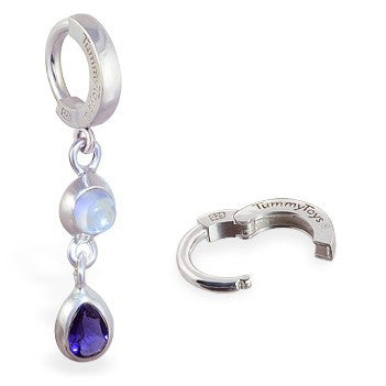 TummyToys® Patented Clasp. Quality Belly Rings. TummyToys® Moon Stone Iolite Huggy