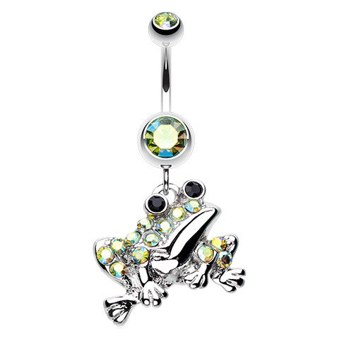 The Croaking Frog Belly Piercing Ring - Dangling Belly Ring. Navel Rings Australia.