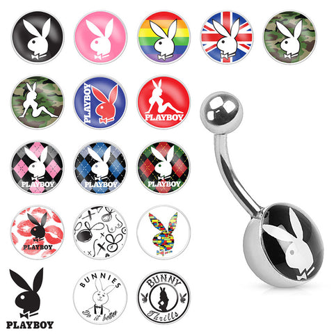 Basic Curved Barbell. Belly Bars Australia. Official Lic Playboy Bunny Logo Navel Bars