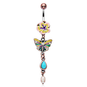 Boho Turquoise Butterfly Belly Piercing Ring - Dangling Belly Ring. Navel Rings Australia.