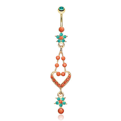 Golden Coral Heart Shakti Belly Bar - Dangling Belly Ring. Navel Rings Australia.