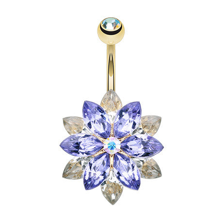 Purple Marquis Lotus Flower Belly Button Ring - Fixed (non-dangle) Belly Bar. Navel Rings Australia.