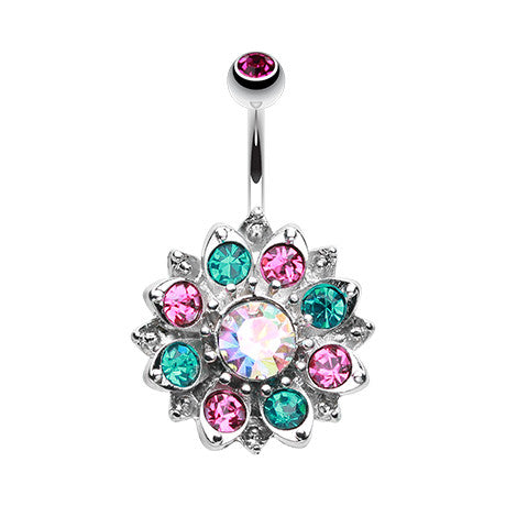 The Rainbow Lotus Navel Bar - Fixed (non-dangle) Belly Bar. Navel Rings Australia.
