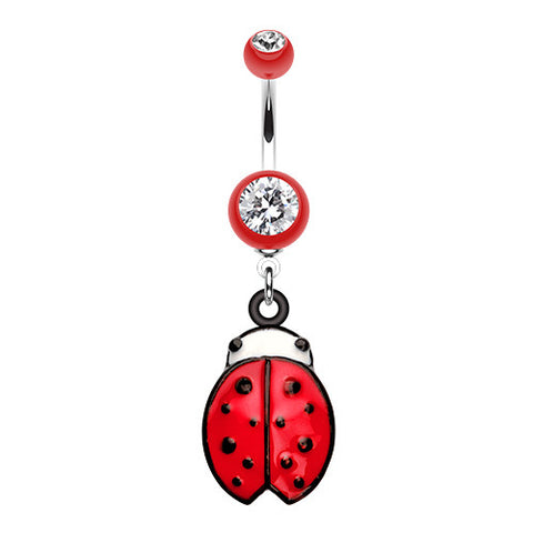 Dangling Belly Ring. Belly Bars Australia. Lady Bug Luck Belly Dangly