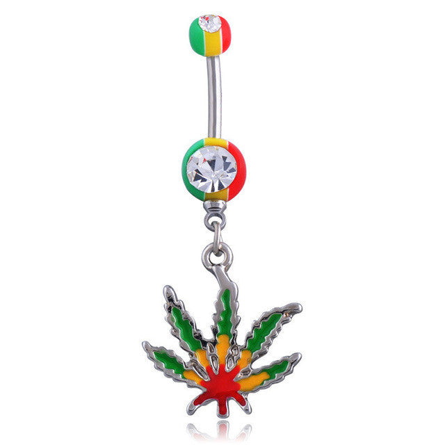 Jamaican Pot Leaf Navel Bar - Dangling Belly Ring. Navel Rings Australia.