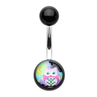 Night Bird Acrylic Owl Belly Button Ring - Basic Curved Barbell. Navel Rings Australia.