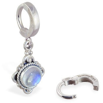 TummyToys® Moonstone Drop Belly Piercing - TummyToys® Patented Clasp. Navel Rings Australia.