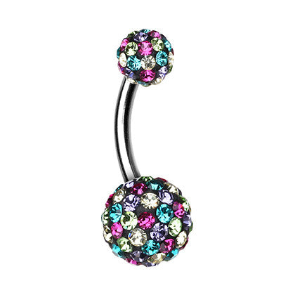 Basic Curved Barbell. Buy Belly Rings. Mozaic Retro Motley™ Navel Bar