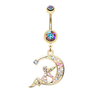 Mystical Fairy Moon Navel Piercing Bar - Dangling Belly Ring. Navel Rings Australia.