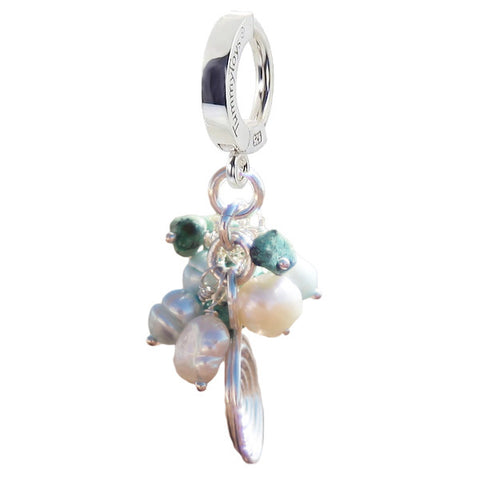 TummyToys® Patented Clasp. High End Belly Rings. Turquoise with Freshwater Pearl Cluster