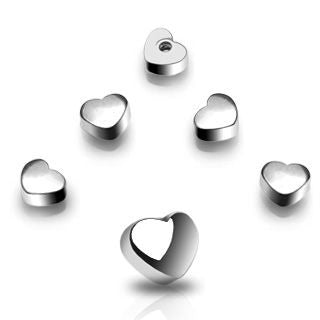 Replacement Ball. Belly Bars Australia. 6mm Surgical Steel Heart Navel Screw