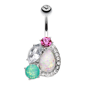 Steel Opal Gem Caboodle Belly Piercing - Fixed (non-dangle) Belly Bar. Navel Rings Australia.