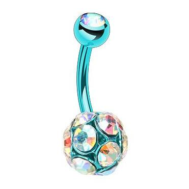 Teal Jeweled Colourline Navel Bar - Fixed (non-dangle) Belly Bar. Navel Rings Australia.