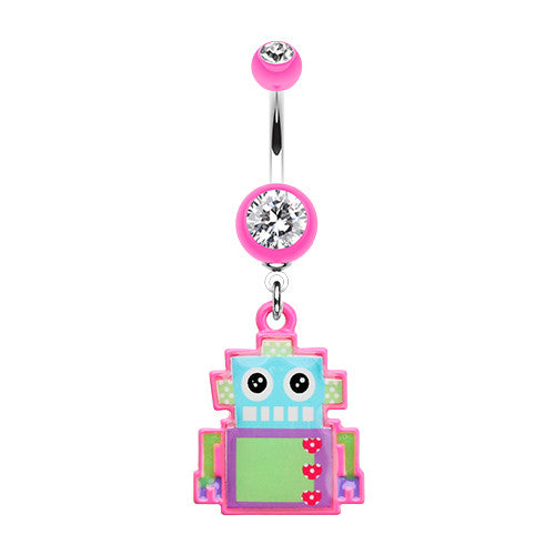 My Pastel Robot Dangly Navel Piercing Bar - Dangling Belly Ring. Navel Rings Australia.
