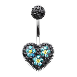 Love Blossoms Heart Belly Button Bar - Fixed (non-dangle) Belly Bar. Navel Rings Australia.
