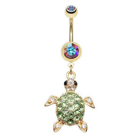 Hawaiian Sea Turtle Belly Button Bar - Dangling Belly Ring. Navel Rings Australia.