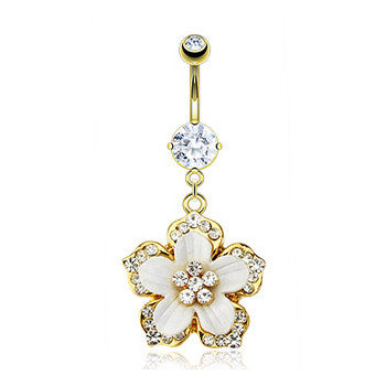 Paved Hawaiian Flower Belly Ring - Dangling Belly Ring. Navel Rings Australia.