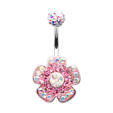 Fixed (non-dangle) Belly Bar. Cute Belly Rings. Motley's Festival Flower Belly Bar