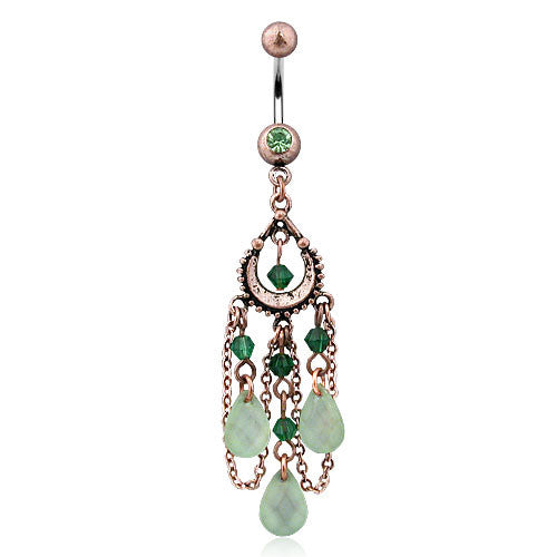 Bohemian Peridot Belly Dangle - Dangling Belly Ring. Navel Rings Australia.
