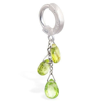 TummyToys® Patented Clasp. Belly Rings Australia. TummyToys® Custom 14K White Gold Peridot Belly Piercing