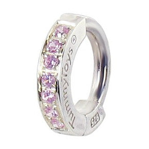 TummyToys® Silver Pink Cubic Zirconia Paved Sleeper - TummyToys® Patented Clasp. Navel Rings Australia.