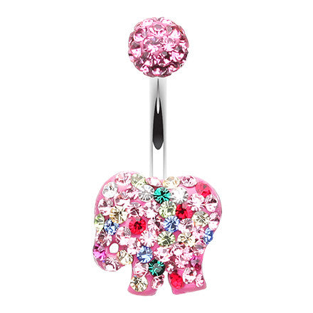 Fixed (non-dangle) Belly Bar. High End Belly Rings. Glitzy Circus Elephant Belly Button Ring