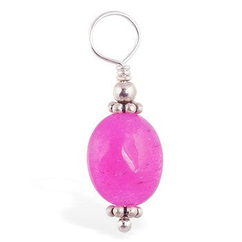 TummyToys® Hot Pink Jade Navel Swinger Charm - TummyToys® Swinger Charm. Navel Rings Australia.