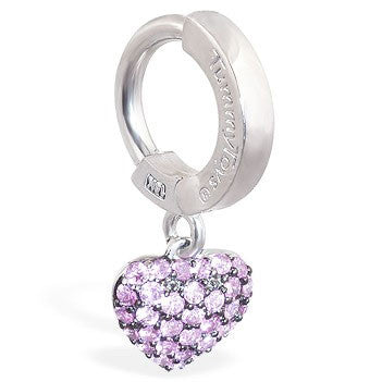 TummyToys® Patented Clasp. Belly Bars Australia. TummyToys® 14K White Gold Pink Sapphire Heart Navel Bar