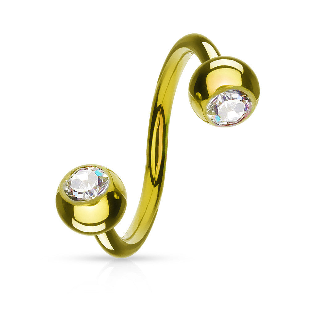 Double Gem Gold Plated Spiral Twister - Spiral Twister Twistie. Navel Rings Australia.