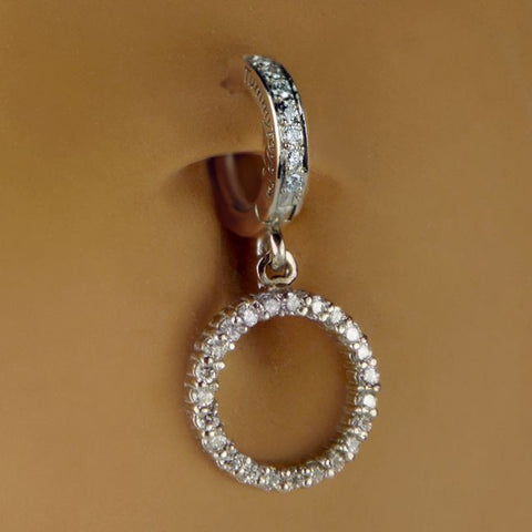 Authentic Maria Tash 14K Gold Diamond Ice Pave Belly Ring with Dangle Accents