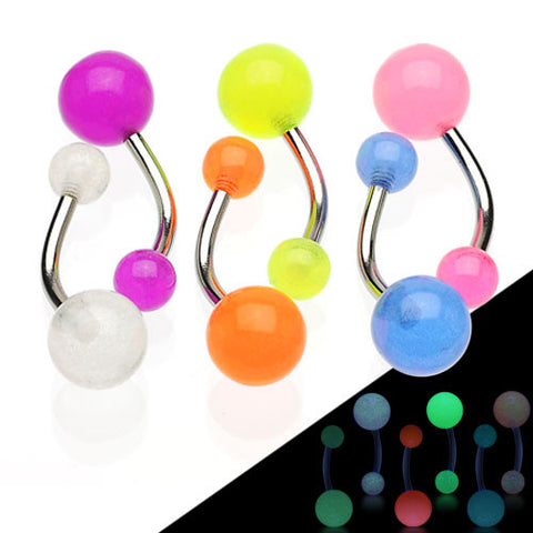 Basic Curved Barbell. Belly Rings Australia. GLOW in the Dark Belly Rings