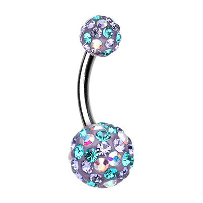 Lilac Retro Motley™ Belly Button Ring - Basic Curved Barbell. Navel Rings Australia.