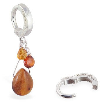 TummyToys® Tiger Eye Silver Belly Button Bar - TummyToys® Patented Clasp. Navel Rings Australia.