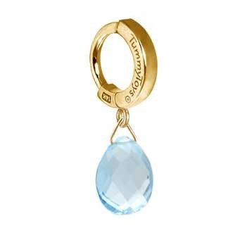 TummyToys® Solid 14K Yellow Gold Blue Topaz Drop - TummyToys® Patented Clasp. Navel Rings Australia.