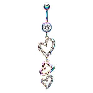 Rainbow Heart Drop Navel Ring - Dangling Belly Ring. Navel Rings Australia.