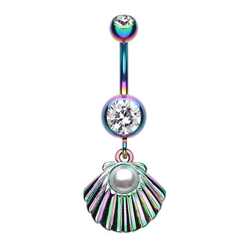 Rainbow Sea Shell Pearl Belly Button Ring - Dangling Belly Ring. Navel Rings Australia.